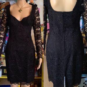 Moda Int'l VS LBD Sexy Lace Décolletage VTG SZ 12
